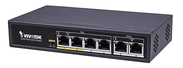 Vivotek 4xFE PoE + 2xFE UTP switch AW-FET-060C-065, 200m