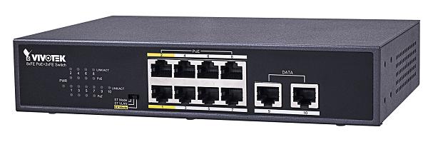 Vivotek 8xFE PoE + 2xFE UTP switch AW-FET-100C-120, 200m